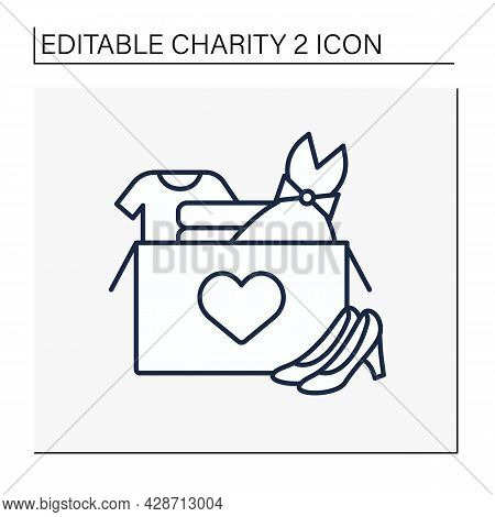 Clothing Donation Line Icon. Share Used Clothes With Stray Or Poor People. Shoes, Dress, Suit For Di