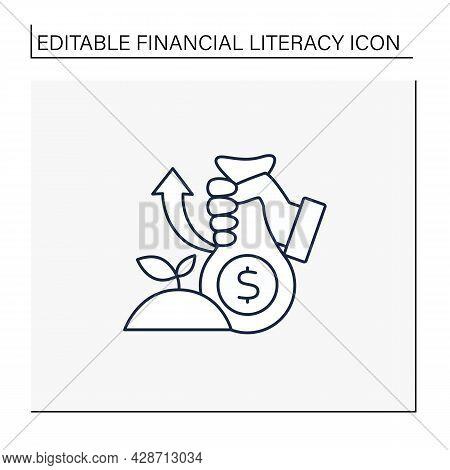 Investments Line Icon. Investing Money In Profitable Business. Investition. Accumulate Earnings.fina