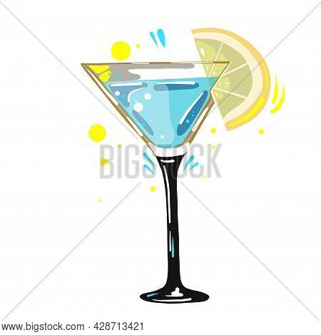 Gin And Tonic Cocktail With Lemon, Vector Clipart, Hand Drawn Food Illustration