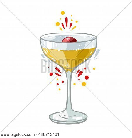 Alcohol Gin And Tonic Cocktail With Cherry, Vector Clipart, Hand Drawn Food Illustration