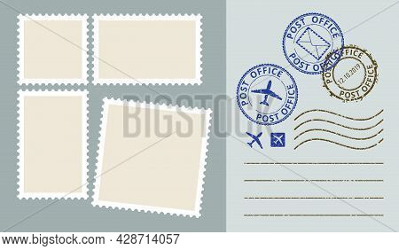 Postal Stamps Template Vector Set. Post Office Stamp. Airpost Stamp.