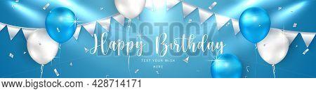 Elegant Golden Blue Silver White Ballon And Cloth Bunting Party Popper Ribbon Happy Birthday Celebra