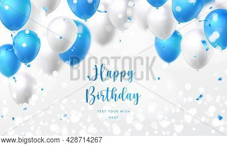Elegant Golden Blue Silver White Ballon And Party Popper Ribbon Happy Birthday Celebration Card Bann