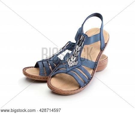 Pair Of Women Leather Sandals Isolated On White.
