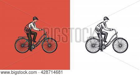 A Man On A Bicycle. Eco Friendly Transport. The Postman Rides A Bike. Vintage Custom Emblem, Label B