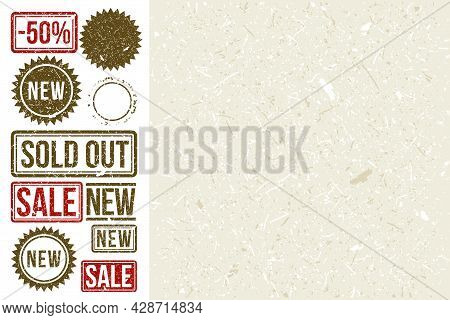 Stamp Set With Craft Paper Texture. Sold Out Stamp. Sale Stamp. New Stamp. Grunge Texture.