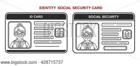 Id Identification Social Security Insurance Card Line Icon Set. Identity Retired, Authentication Per