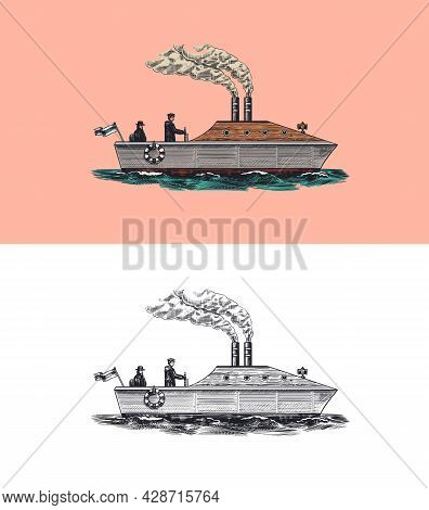 Motor Ship With Sailors. Seagoing Vessel With Steam Smoke From The Pipe, Nautical Marine Sailboat. W
