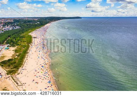 Aerial landscape of beach in Wladyslawowo by the Baltic Sea at summer. Poland.