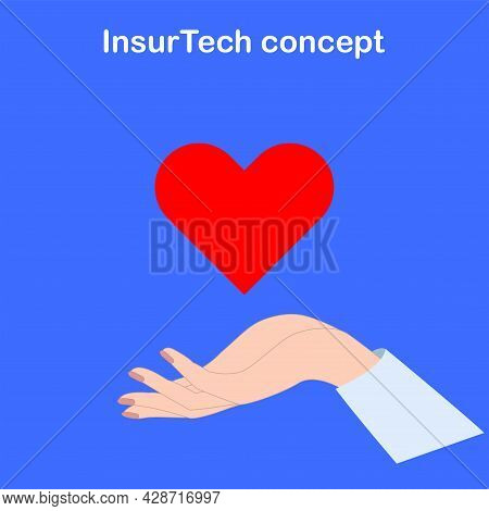 Hand, Heart In The Palm. Insurtech Concept. The Concept Of Insurance Technology In Medicine. Technol