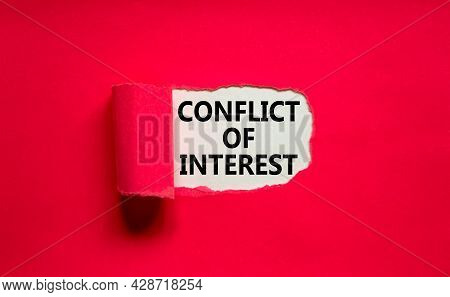 Conflict Of Interest Symbol. Words 'conflict Of Interest' Appearing Behind Torn Purple Paper. Beauti