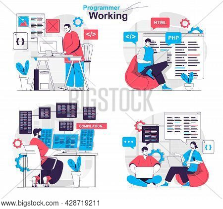 Programmer Working Concept Set. Developer Creates Software And Tests Programs. People Isolated Scene