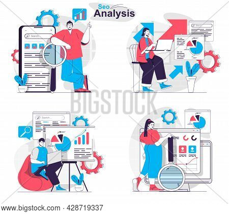 Seo Analysis Concept Set. Analysts Research Statistics, Keywords, Optimize Search. People Isolated S