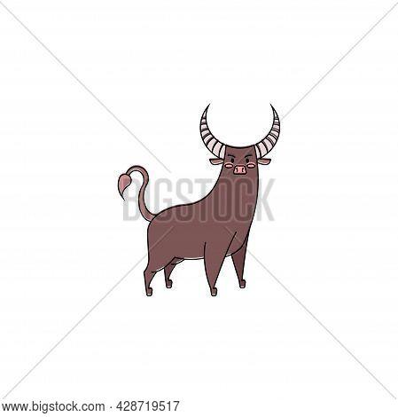 Isolated Bull Taurus Animal Character Zodiac Sign Vector
