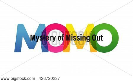 Momo Word Vector Illustration. Mystery Of Missing Out. Colored Rainbow Text. Vector Banner. Corporat
