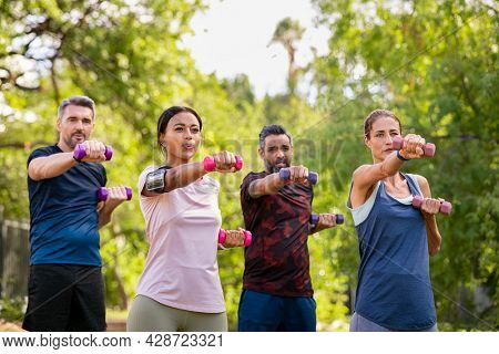 Group of mature friends exercise using dumbbells at park. Team of four middle aged people lifting weights outdoor. Determined men and fit women using dumbbell for workout in park together.