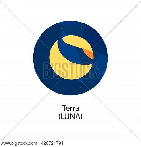 Terra Luna Decentralized Cryptocurrency Vector Logo Icon