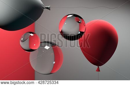 Close Up Of Transparent Balls Near Wall And Matt Red And Gray Balloons. Surrealism. Magic Realism. 3