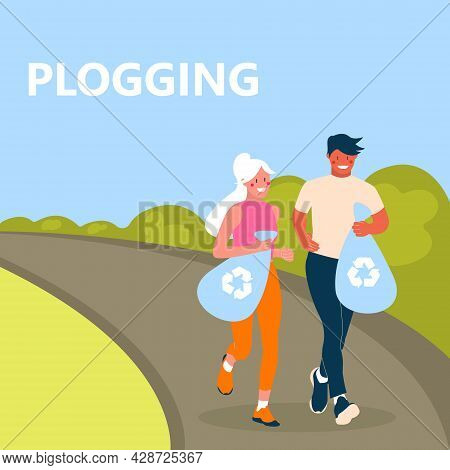 Plogging Concept. Men And Women Jogging And Collecting Garbage. Couple Of Eco-volunteers Clean The P