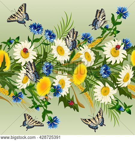 Pattern With Cornflowers And Daisies.colored Vector Pattern With Cornflowers And Daisies On A Colore