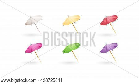 Set Of Multicolored Paper Cocktail Umbrellas Isolated On White Background
