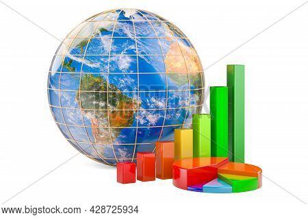Earth Globe With Growth Bar Graph And Pie Chart. Global Business, Finance, Economic Concept. 3d Rend