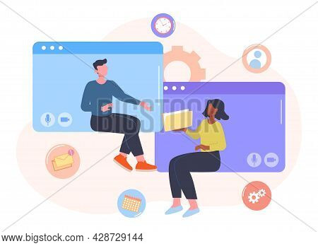 Creative Business Team Concept. Freelancers Or Partners Work Online Using Video Call Application Or