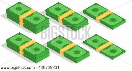 Isometric Dollar Banknote In Different Versions Of Stacked Bundles. Pile Of Cash. Stack Of Money. Ba