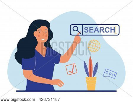 Searching Browsing Concept. Internet Data Information Networking. Woman Searches For Information On