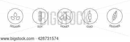 Allergen Line Icon Set. Honey, Soy, Gmo, Feather, Sesame Free Badges. Organic And Natural Food Label