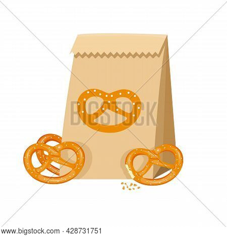 Salted Pretzels In A Paper Bag With Crumbs Next To It.