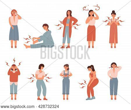 Set Of Unhappy Womens. Suffering Pain Or Ache In Different Body Parts - Chest, Neck, Leg, Back, Stom