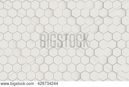 Hexagonal Abstract Background, Depth Of Field Effect. Modern Cellular Honeycomb 3d Panel With White