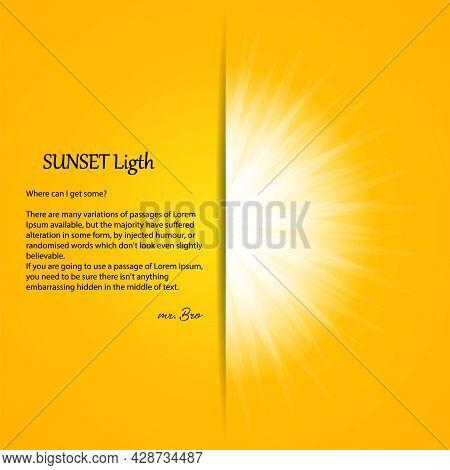 White Sunshine On Yellow Background. Sunny Summer Banner With Sunburst Sunbeams. Bright Sun Rays Vec