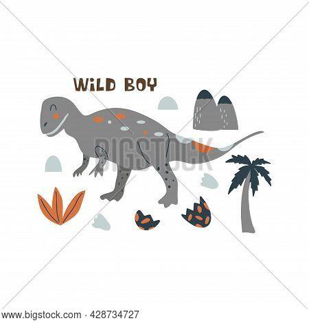 Tyrannosaurus Rex Dinosaur. Large Extinct Ancient Carnivorous Reptile, Jurassic. Wild Boy Print. Col