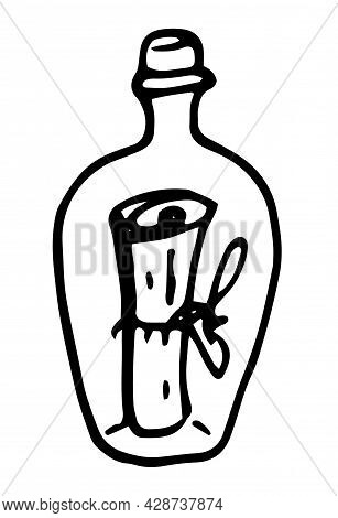 A Vector Bottle With A Message Inside. A Hand-drawn Doodle-style Glass Bottle With A Cork, With A Sc