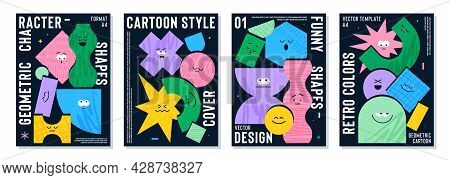 Poster Set With Cute Cartoon Geometric Figures With Different Face Emotions, Funny Print Idea For Ki