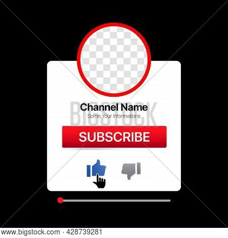 Profile Interface. White Pop Up Window. Subscribe Button. Bell, Like. Vector Illustration With Blank
