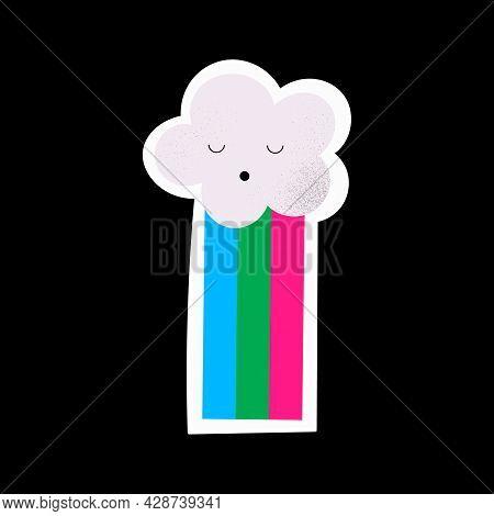 Cute Cloud With A Rainbow. Isolated Lgbtqia Hand Drawn Sticker. Vector Illustration