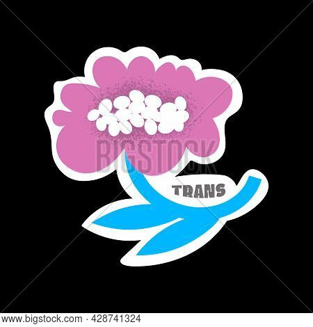 Isolated Flower With Trans Title. Lgbtqia Gender Watercolor Stickers Collection. Vector Illustration