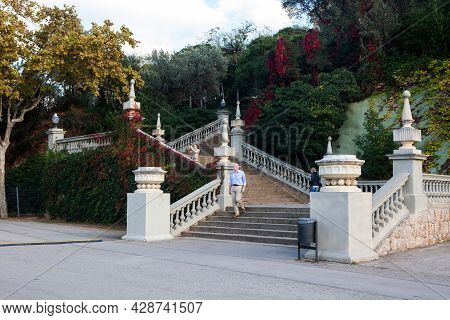Barcelona, Spain - October 28, 2015: Stairs Of The National Museum Of Catalan Visual Art (mnac).