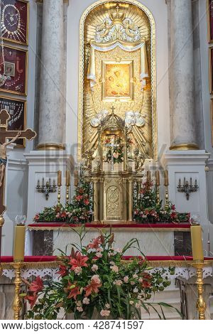 Chelm, Poland - July 5, 2021: Inside The Shrine, The Basilica Of Virgin Mary In Chelm In Eastern Pol