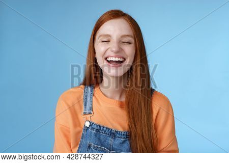 Carefree Happy Positive Lucky Redhead Girl Having Fun Close Eyes Smiling Optimistic Laughing Out Lou