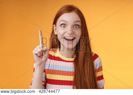 Excited Happy Cheerful Young Redhead Female Student Got Idea Think Answer Raising Index Finger Eurek