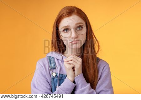Pretty Please. Clingy Young Sad Sulking Redhead Girl Sibling Wearing Glasses Pouting Silly Press Pal