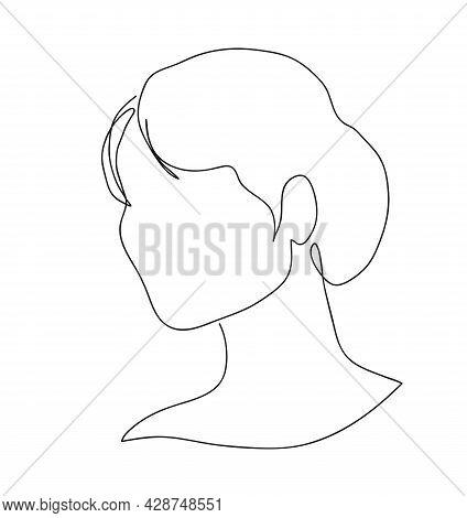 Graceful Female Head. Woman Profile Silhouette. Portrait Female Beauty Concept. Continuous Line Draw