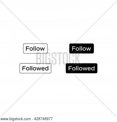 Follow, Followed Button Icon Vector - Icon
