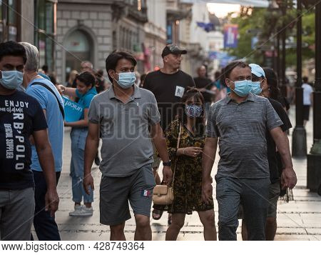 Belgrade, Serbia - July 22, 2021: Indian Tourists, Young Males And Female Men And Women From India,