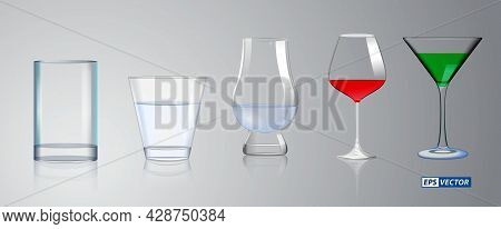 Set Of Realistic Crystal Glass Or Transparent Drinking Glass Cup Or Alcoholic Drinks Empty Glass. Ep