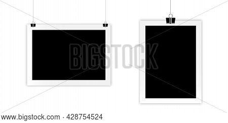 Retro Frames On Clips. Camera Icon. Photo Frame. Empty Snapshot Frame Template. Vector Illustration.
